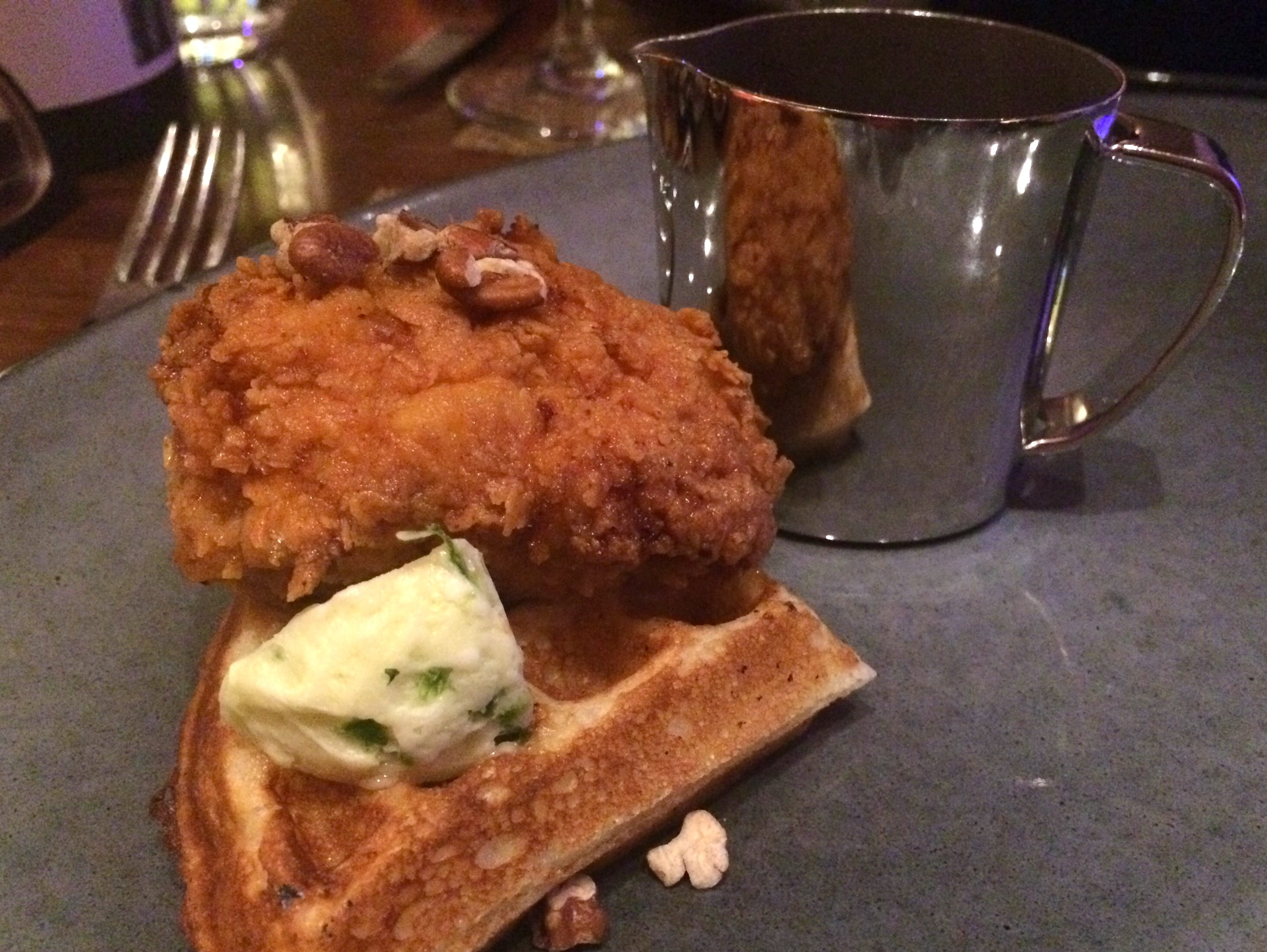 Chicken and waffles with bourbon maple syrup at Decker & Dyer.
