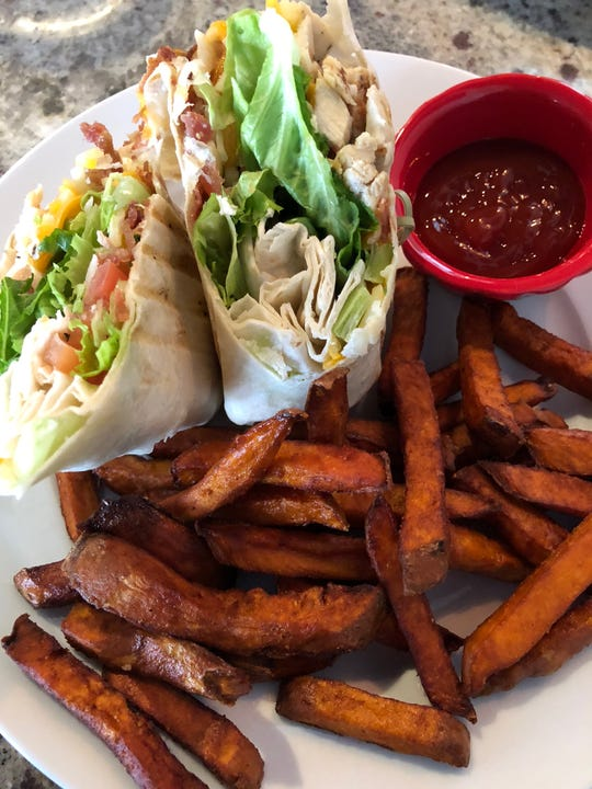The chicken bacon ranch wrap at Benchmark Sports Pub + Eatery is a delicious combo of the ingredients in its name. Add some sweet potato fries and you have a perfect lunch.