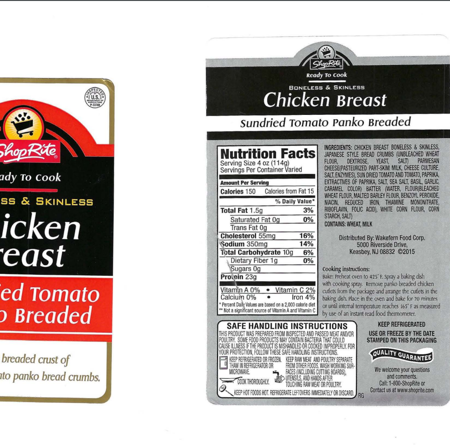 ShopRite chicken recalled for misbranding and potential allergens