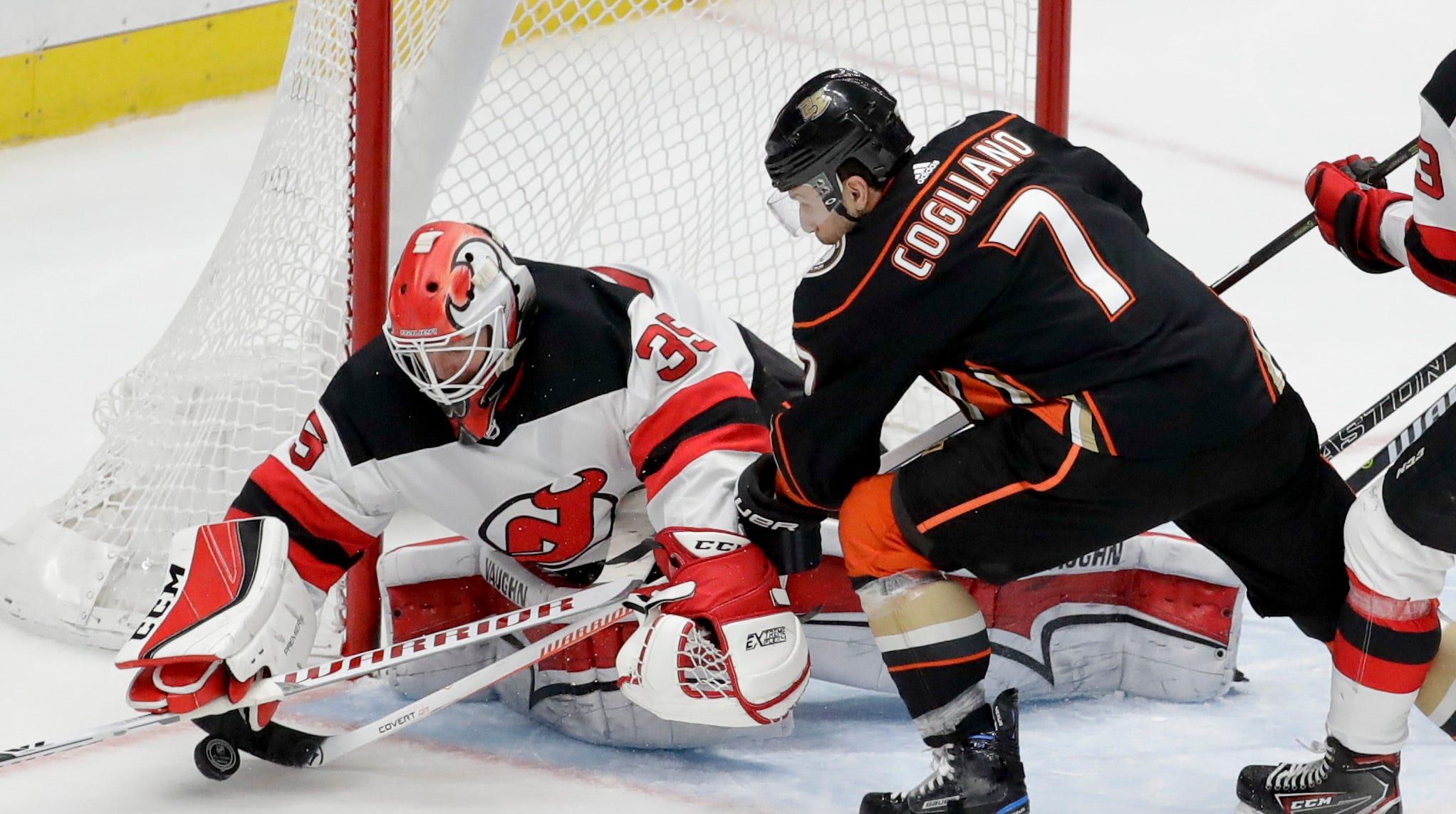 New Jersey Devils goaltender Cory Schneider,...