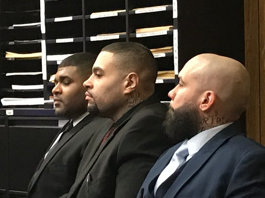 The three defendants in Superior Court on Monday, L to R, David Lawrence, Luis Polanco and Angel Toro.