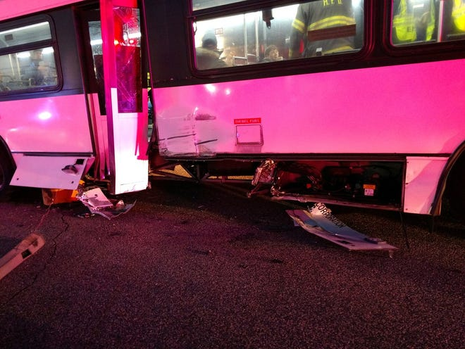 Three people were sent to the hospital after an NJ Transit hit a pole in the Hackensack Sears parking lot on Monday, Dec. 10, 2018.