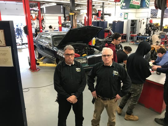 Wayne high school automotive instructors are Wayne Hills' Steve Hopper, left, at Wayne Valley's Ken Bergen.