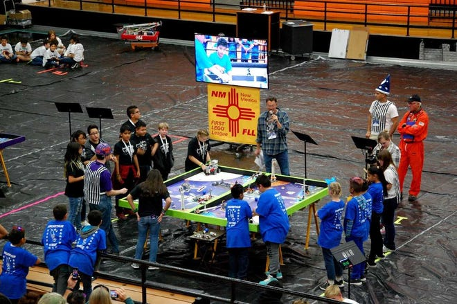 Teams from Zia Middle School and MacArthur Elementary School compete in the New Mexico FIRST Lego League competition Nov. 17, 2018, at Oñate High School.