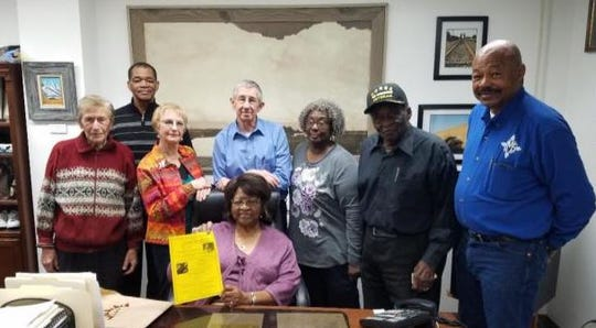Pictured are Julia WIlliams, Bob Scholl, Rev. R.L. Smith, LaWanda Scholl, Mayor Dale Janway, Bernita Smith-Payne, Capt. James Williams, Gary Giddens. Not pictured are Daniel Johnson, Barbara Mounce, Ken Burke and Carrie Coates.
