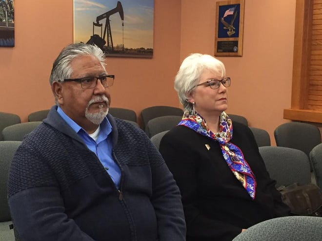 (From left)-Ray Romero, Eddy County public works director and State Rep. Cathrynn Brown (R-55) attended a special meeting of the Eddy County Board of Commissioners Dec. 10 to name a replacement for retiring State Sen. Carroll Leavell (R-41).