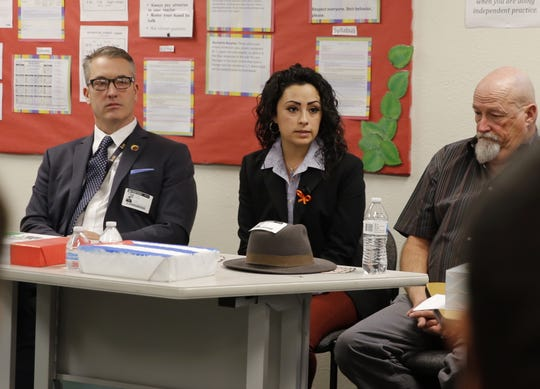 Arely Caro, the director of Herencia Latina and ENLACE at San Juan College, talks about immigration, Monday, Dec. 10, 2018, during a panel discussion at Rocinante High School in Farmington.