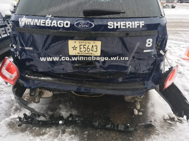 A Winnebago County Sheriff's Office squad car awaits repairs. A teen driver crashed into the squad on Dec. 2 as deputies worked to help another car out of a ditch, authorities said.