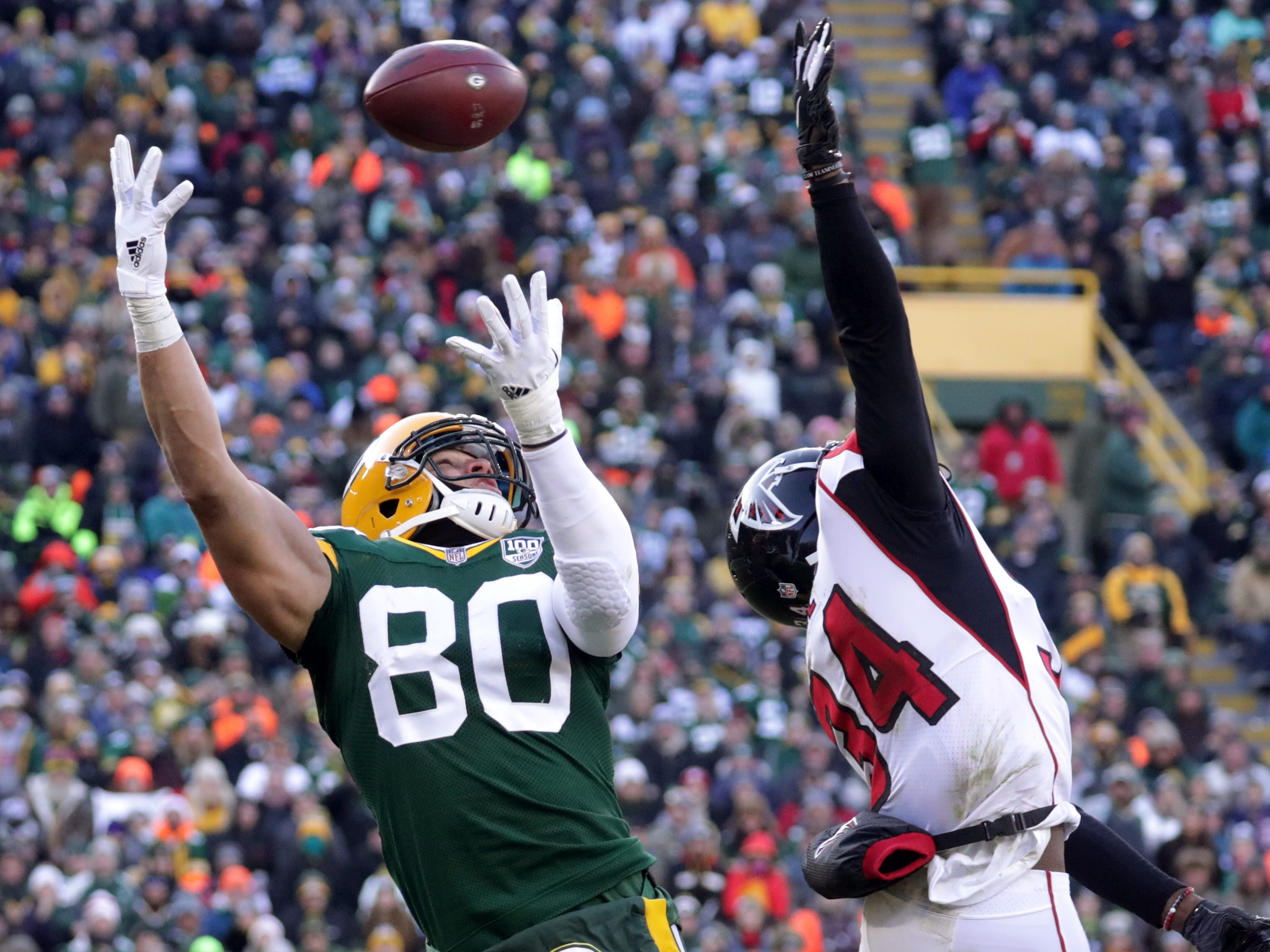 Green Bay Packers tight end Jimmy Graham goes up for a pass against Atlanta Falcons cornerback Brian Poole during their football game on Sunday, December 9, 2018, at Lambeau Field in Green Bay, Wis. Wm. Glasheen/USA TODAY NETWORK-Wisconsin.
