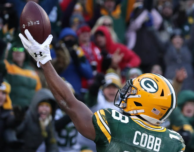 Green Bay Packers wide receiver Randall Cobb celebrates a touchdown against the Atlanta Falcons during their football game on Sunday, December 9, 2018, at Lambeau Field in Green Bay, Wis. Wm. Glasheen/USA TODAY NETWORK-Wisconsin.