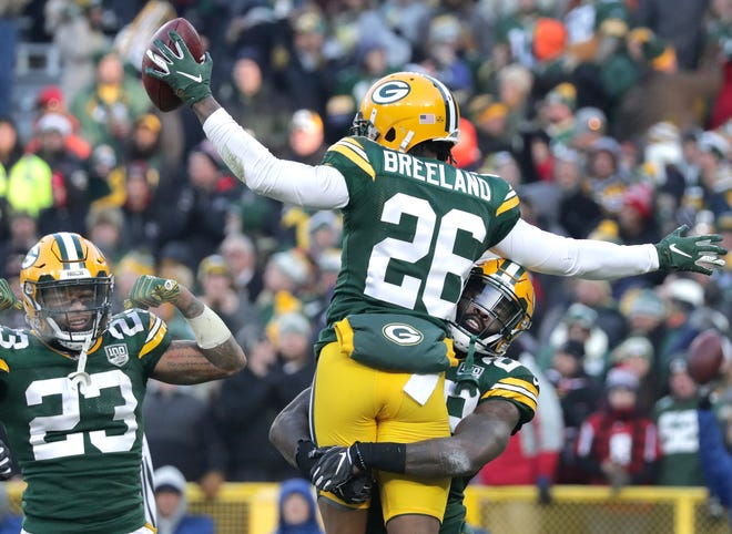 Green Bay Packers defensive back Bashaud Breeland is lifted into the air by Green Bay Packers' Kentrell Brice after recovering a fourth quarter fumble against the Atlanta Falcons during their football game on Sunday, December 9, 2018, at Lambeau Field in Green Bay, Wis. Wm. Glasheen/USA TODAY NETWORK-Wisconsin.