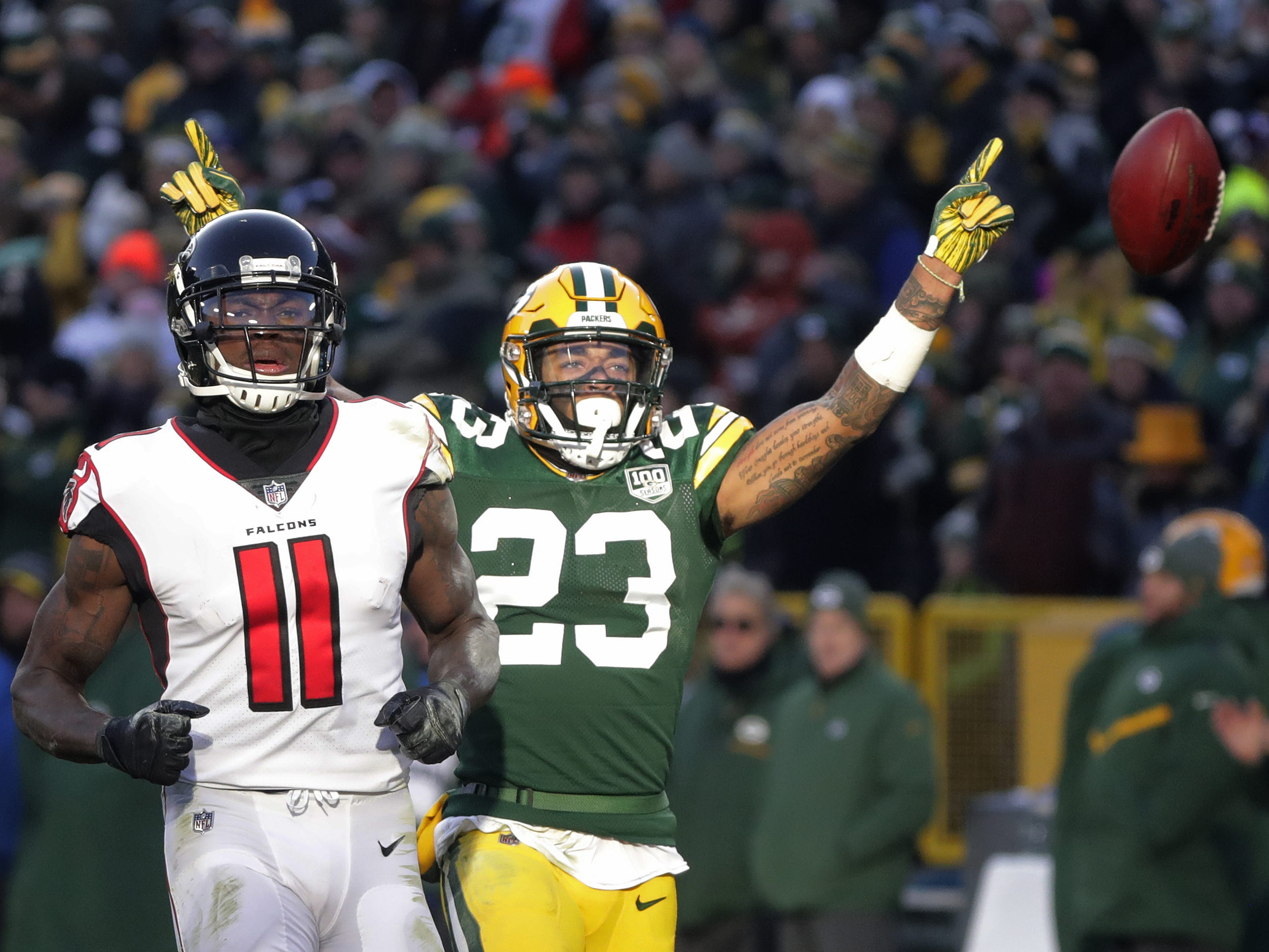 Green Bay Packers cornerback Jaire Alexander (23) celebrates after an incomplete pass to Atlanta Falcons wide receiver Julio Jones (11) in the third quarter at Lambeau Field on Sunday, December 9, 2018 in Green Bay, Wis. Adam Wesley/USA TODAY NETWORK-Wis