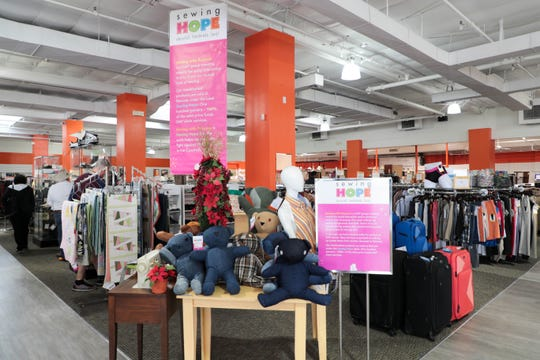 Revivals thrift store displays the items for sale made by Sewing with Purpose on Monday, Dec. 10, 2018