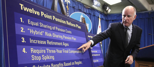 "Gov. Jerry Brown has described pension reform as a ""moral obligation."" Here, he outlines his 12-point plan in October 2011."
