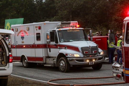 Escambia County EMS responds to a crash in December 2018.