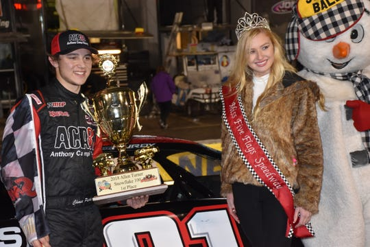 Allen Turner Snowflake 100 winner Chase Purdy, 19, with Emalee Hodge, the 2018 Miss Snowball Derby and University of Southern Mississippi student, after Purdy's win at Five Flags Speedway.