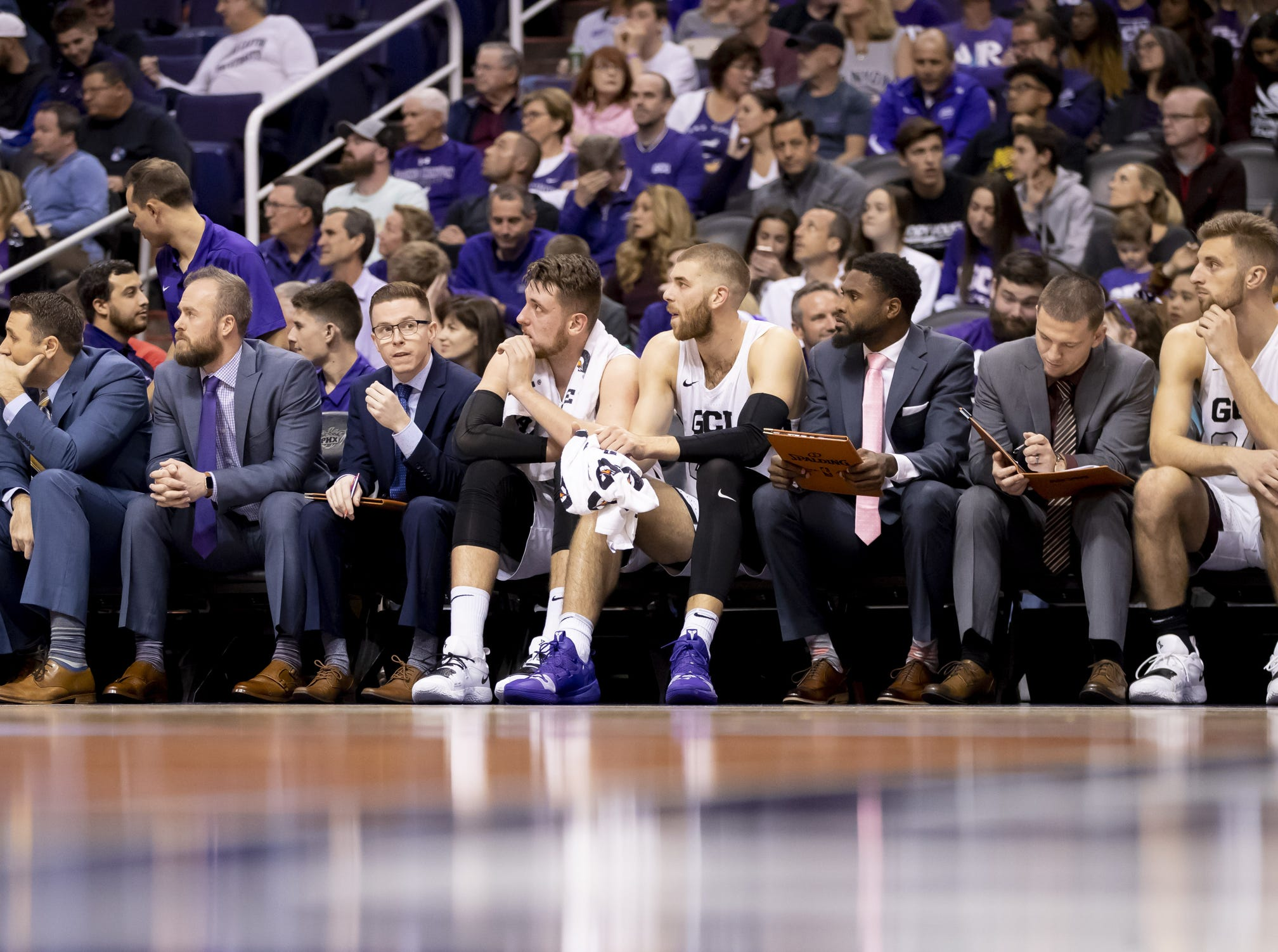The Grand Canyon Antelopes bench during the 2018 Jerry Colangelo Classic against Nevada Wolf Pack at Talking Stick Resort Arena on Sunday, December 9, 2018 in Phoenix, Arizona.