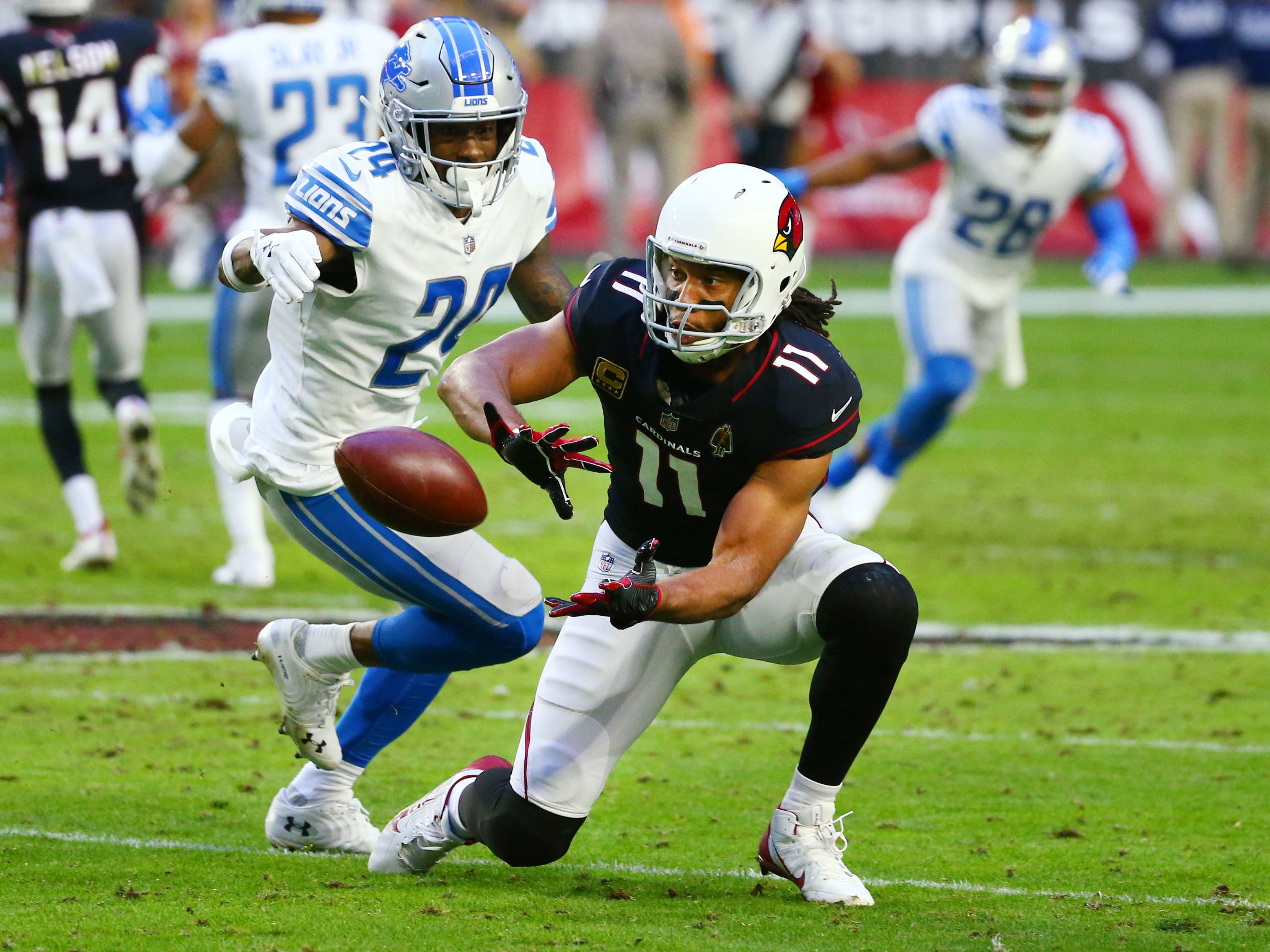 Arizona Cardinals wide receiver Larry Fitzgerald makes his 1,282 career reception against Detroit Lions on Dec. 9 at State Farm Stadium, setting an NFL record for most career receptions with one team, passing Jerry Rice.