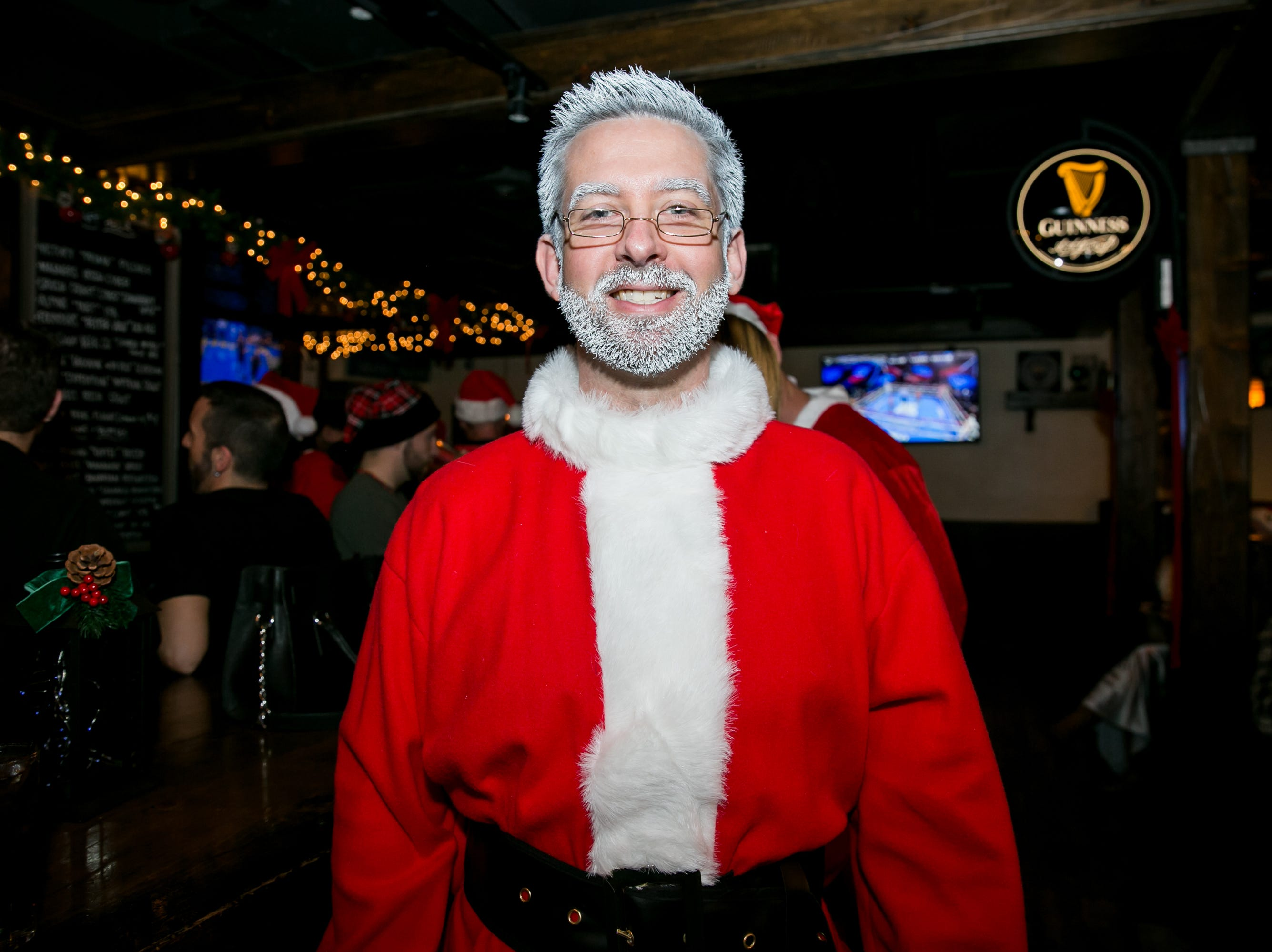 This Santa's hair and beard looked awesome during Santarchy on Saturday, December 8, 2018.