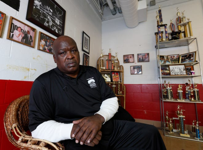 "Former heavyweight boxing champion James ""Buster"" Douglas sits in a room at the Feb. 10, 2015 at the Thompson Recreation Center."