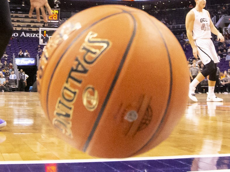 A ball rolls out of bounds during the 2018 Jerry Colangelo Classic between the Grand Canyon Antelopes and the Nevada Wolf Pack at Talking Stick Resort Arena on Sunday, December 9, 2018 in Phoenix, Arizona.