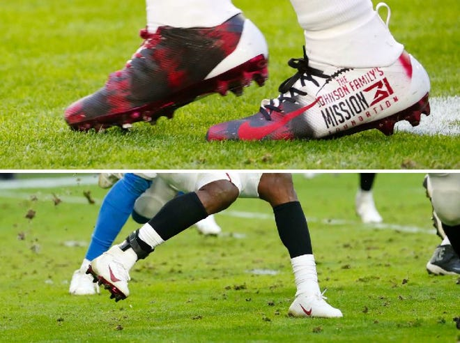 A look at the cleats David Johnson wore to start the game vs. the Lions (top) and the cleats he switched to due to poor field conditions at State Farm Stadium on Dec. 9, 2018.