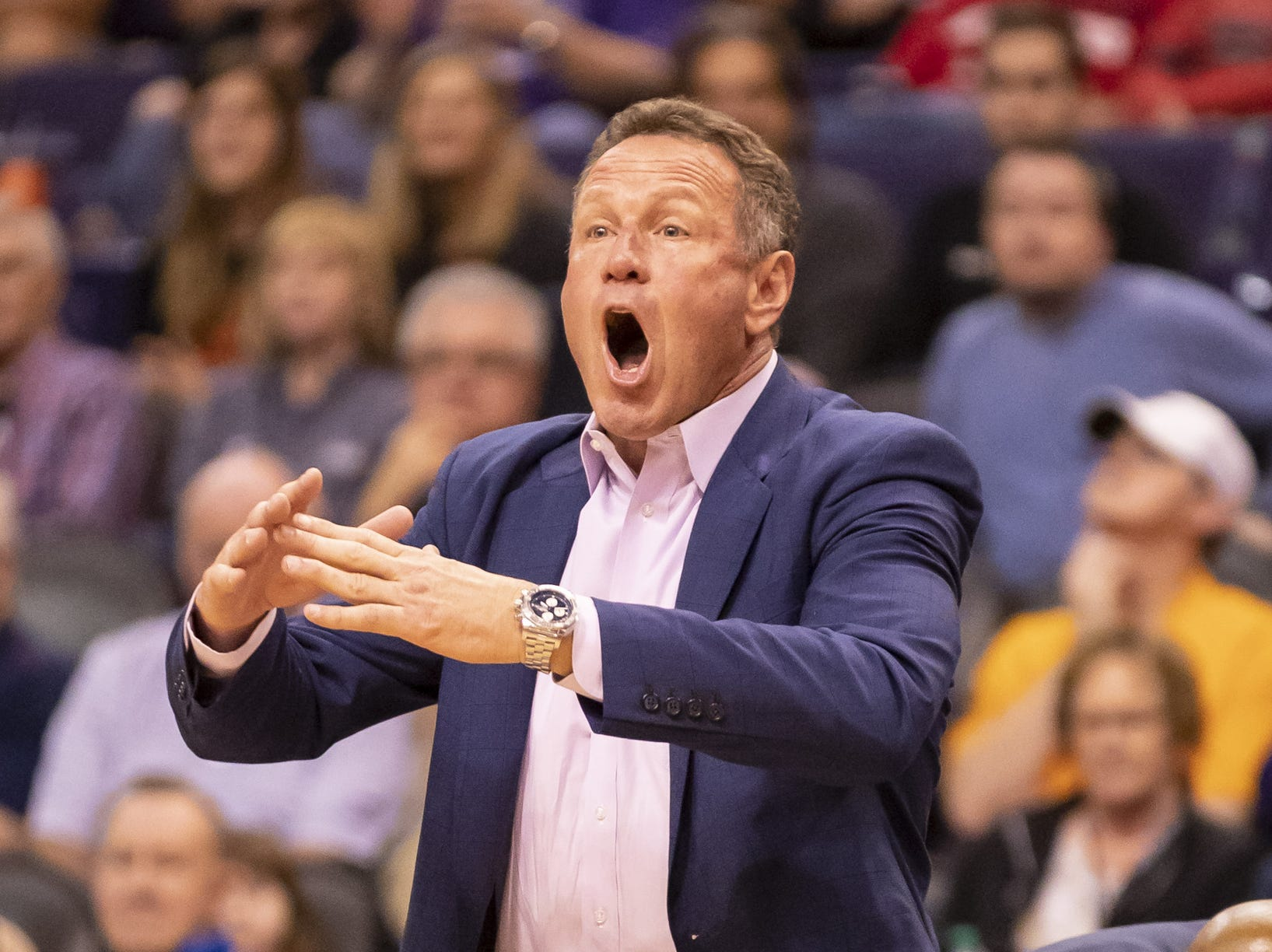 Head coach Dan Majerle of the Grand Canyon Antelopes motions during the 2018 Jerry Colangelo Classic against Nevada Wolf Pack at Talking Stick Resort Arena on Sunday, December 9, 2018 in Phoenix, Arizona.