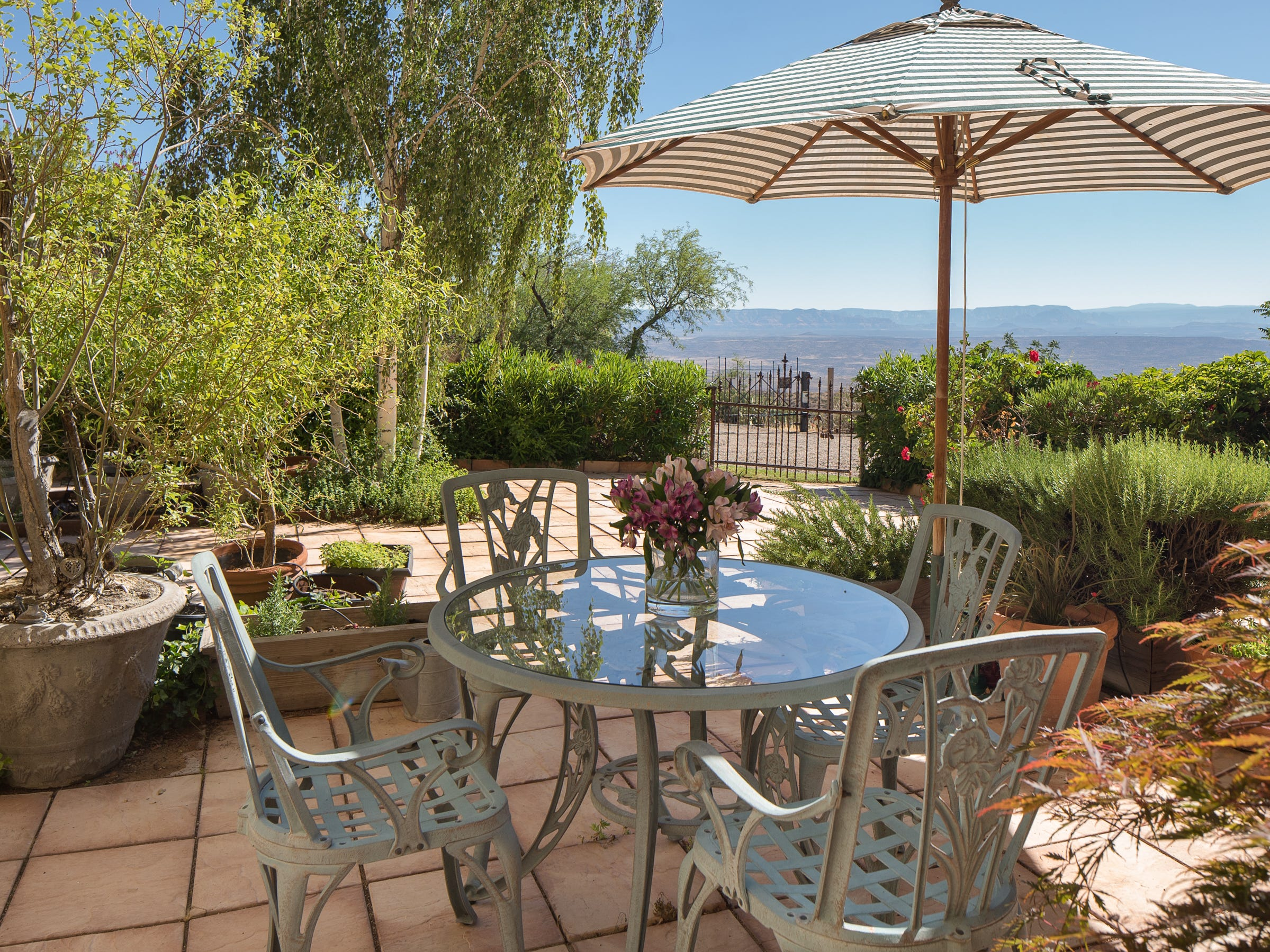The patio off the kitchen is seen at the 100-year-old former Little Daisy Hotel in Jerome, which was later turned into a single-family home and is now on the market.