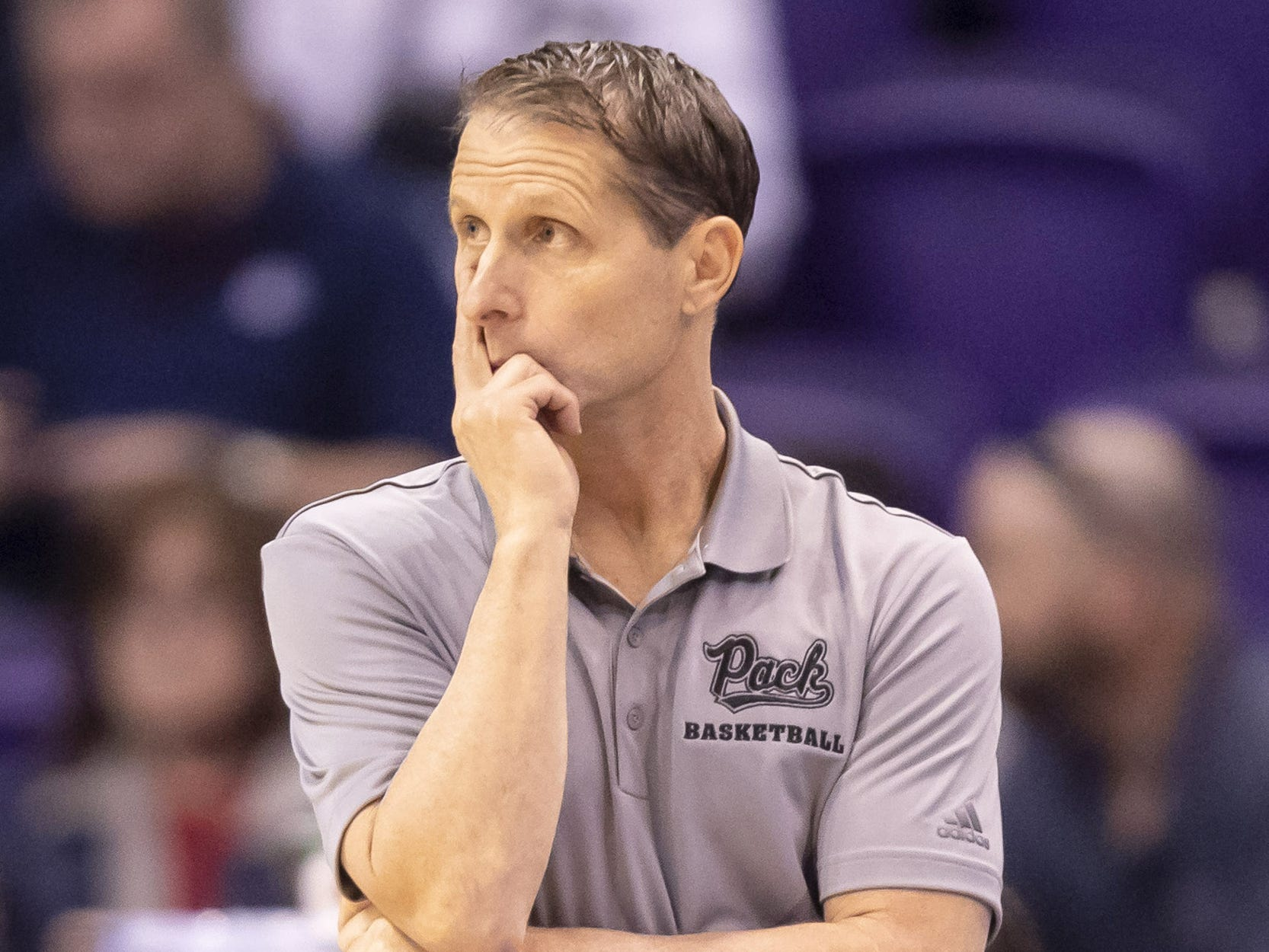Head coach Eric Musselman of the Nevada Wolf Pack stands during the 2018 Jerry Colangelo Classic against the Grand Canyon Antelopes at Talking Stick Resort Arena on Sunday, December 9, 2018 in Phoenix, Arizona.
