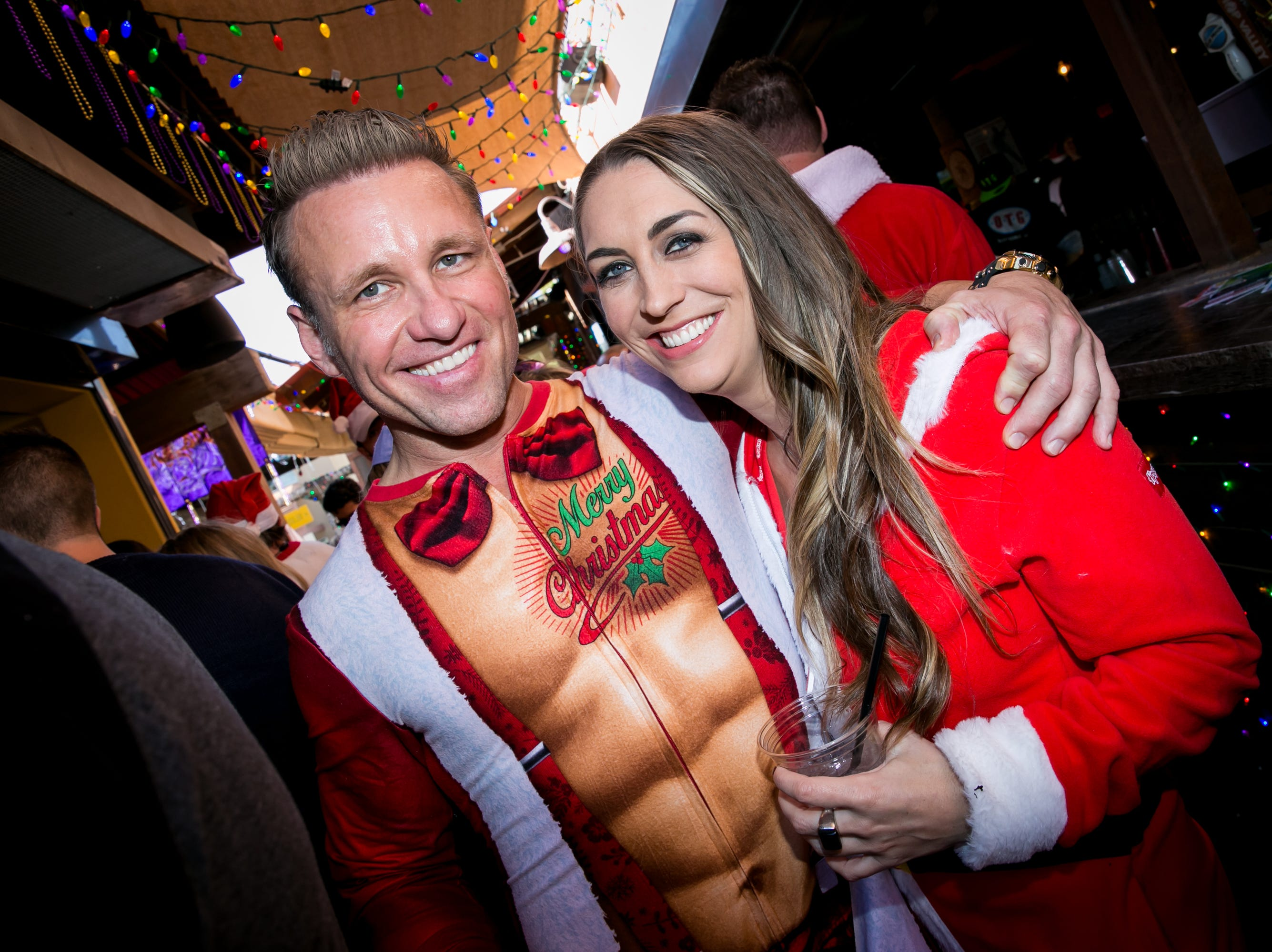 This duo had a great choice in outfits during the Scottsdale Santa Crawl at Old Town Gringos on Saturday, December 8, 2018.