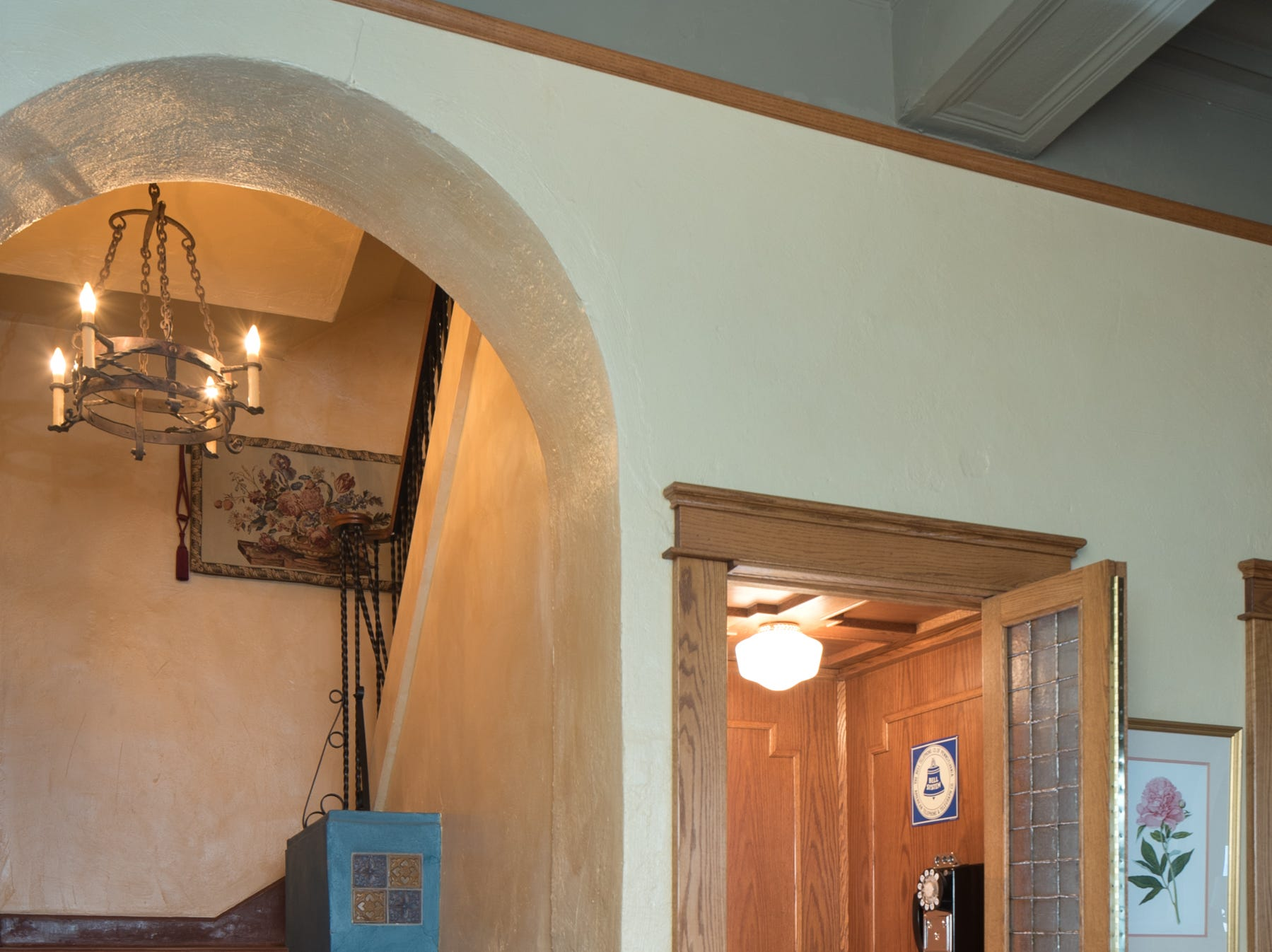 The staircase to the guest wing is seen in the 100-year-old former Little Daisy Hotel in Jerome, which was later turned into a single-family home and is now on the market.