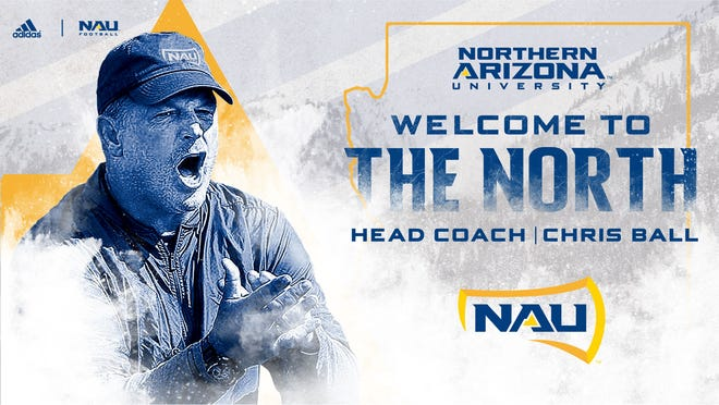 The promotional image released by NAU announcing the hiring of Chris Ball as head football coach.