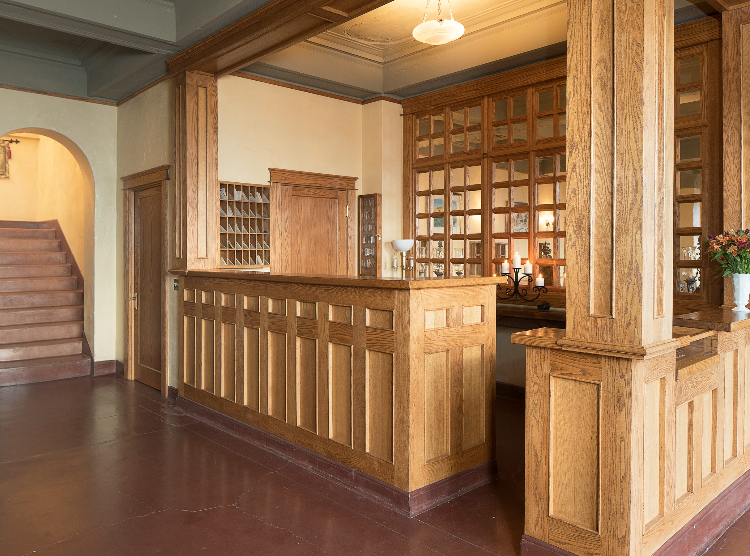 The reception desk is seen in the 100-year-old former Little Daisy Hotel in Jerome, which was later turned into a single-family home and is now on the market.
