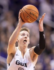 Guard Trey Drechsel (2) of the Grand Canyon Antelopes shoots against Nevada Wolf Pack during the 2018 Jerry Colangelo Classic at Talking Stick Resort Arena on Sunday, December 9, 2018 in Phoenix, Arizona.