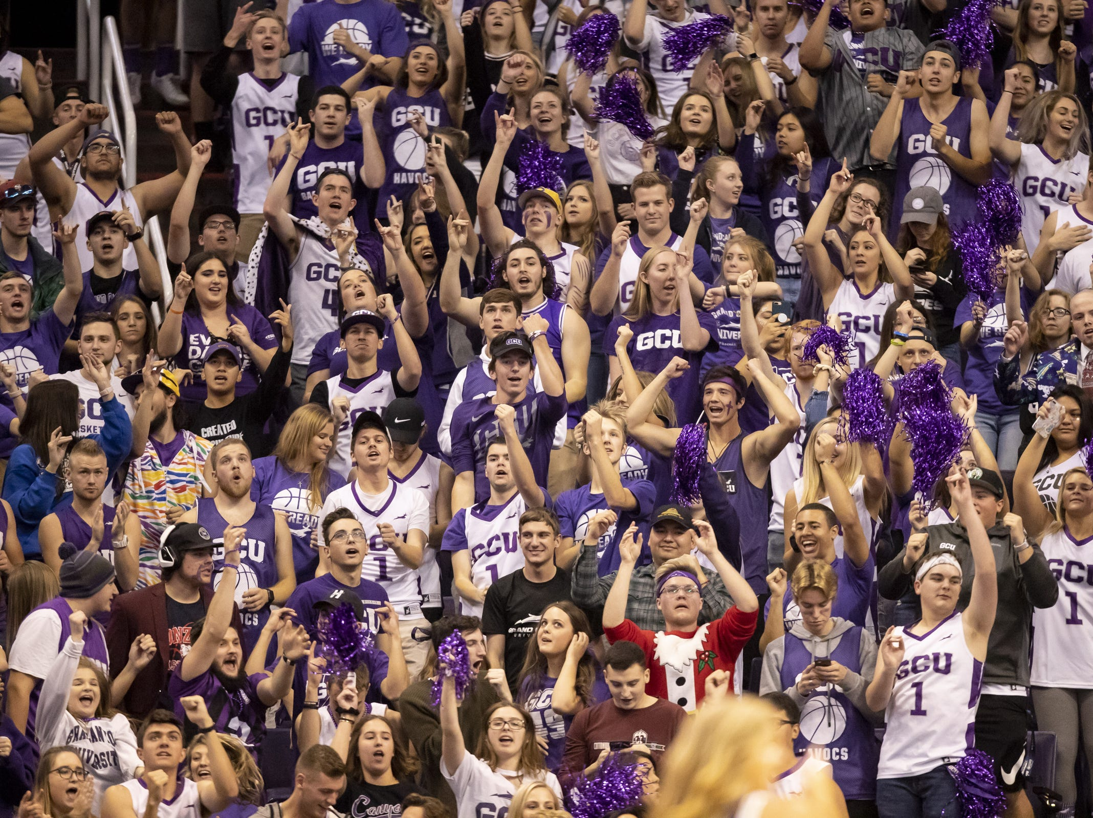 The Grand Canyon student section cheers during the 2018 Jerry Colangelo Classic against Nevada Wolf Pack at Talking Stick Resort Arena on Sunday, December 9, 2018 in Phoenix, Arizona.