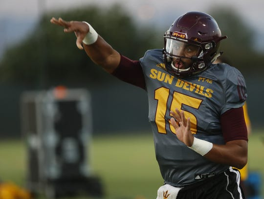Arizona State quarterback Dillon Sterling-Cole throws a pass during an August practice.
