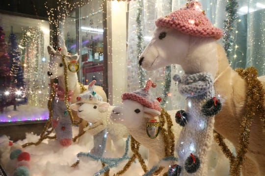 The holiday decorations in A.L. Stickle Variety Store's window in Rhinebeck on November 29, 2018.