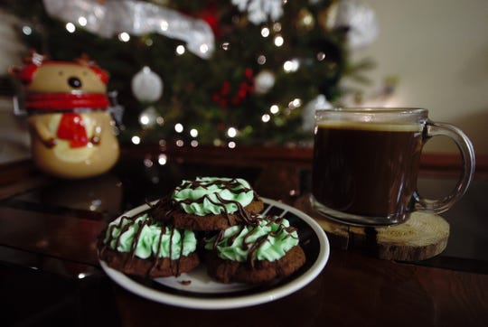 Mint chocolate chip cookies with a mug of 'Italian Java'