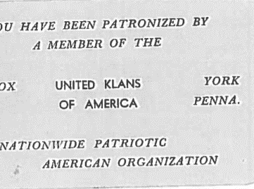The Klan's calling card in York, undated.