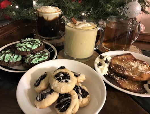 A trio of holiday cookies and cocktails.