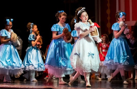 Clara (front), played by Avery Spry, dances with Serena Garcia, Morgan Spry, Sasha Webster and Cassidy Miller.