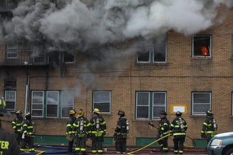 Flanders apartment building on Thurston Rd. was destroyed by a fire.