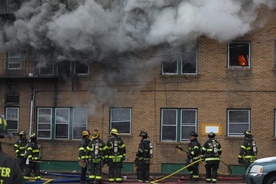 Smoke continued to billow from the building.