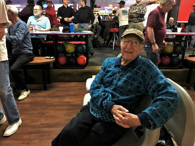 Tom Pisano, who turns 105 on Wednesday, celebrated his birthday at AMF Empire Lanes in Webster on Monday, Dec. 10, 2018. Pisano bowls several times a week and still drives himself to the bowling alley.