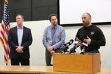Jefferson school and law enforcement officials speak to the media following the death of a 17-year-old student on Monday, Dec. 10, 2018.