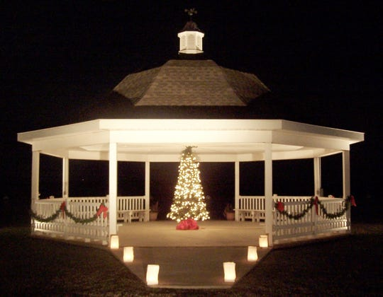Vienna's waterfront gazebo all lit up for the holiday season.