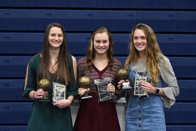 2018 Miss Volleyball recipients (L-R): Sioux Falls Christian's Kylee Van Egdom, Chester's Hanna Reiff and Rapid City Stevens' Elizabeth Schaefer. They were honored prior to the S.D. Volleyball All-Star game on Saturday, Dec. 8 in Sioux Falls.