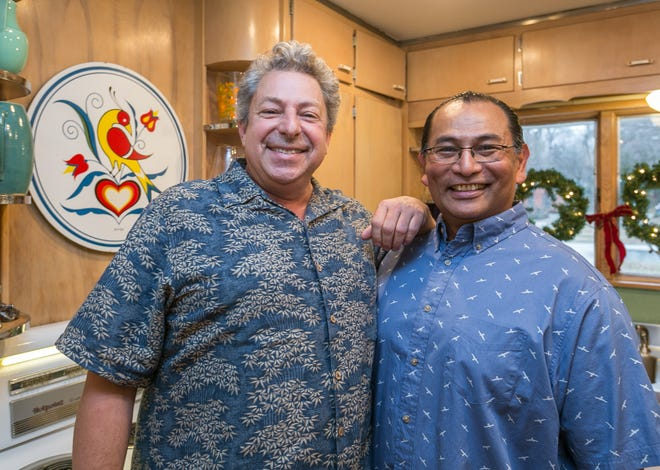 Jeff Clinkenbeard, left, and husband Kyaw Tha Hla have gently renovated their 1948 Brentwood home to celebrate its original design, but in keeping with modern life.