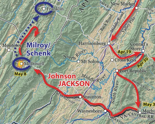 The path of the Civil War battle that became the Battle of McDowell in Highland County.
