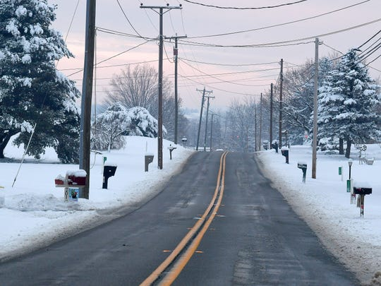 View of Tinkling Spring Road following a snowstorm in Fishersville on Monday, Dec. 10, 2018.